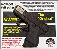 GT-5000 Grip Tape for Your Pistol * Use on handguns and rifles * Not gritty like sandpaper or skateboard tape. * Does not scuff clothing, holsters, furniture or car seats like those sandy tapes. * Makes chambering a round easier for arthritis sufferers .