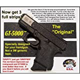 GT-5000 Grip Tape for Your Pistol * Use on handguns and rifles * Not gritty like sandpaper or skateboard tape. * Does not scuff clothing, holsters, furniture or car seats like those sandy tapes. * Makes chambering a round easier for arthritis sufferers . * Easy to cut and apply. * Improves wet and dry grip. * Improves accuracy in an emergency. * Quicker aquisition from holster, waistband, glove box or purse. * Durable synthetic rubber. Use on grips and slides.