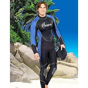 Delphin Combinaison de plongée intégrale pour homme avec col en cheminée, avec Overall de 7 mm d'épaisseur et capuche incluse Bleu bleu/noir 52