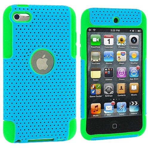Cell Accessories For Less (Tm) Green / Baby Blue Hybrid Mesh Hard/Soft Case Cover For Apple Ipod Touch 4Th Generation - By Thetargetbuys front-979926