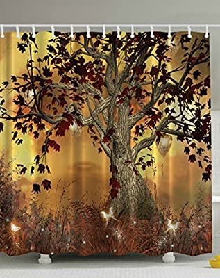 IMIEE Multi-color 3D Digital Print Spirit Tree Design Polyester Bathroom Shower Curtain for Home Decor,72inch x 72 inch