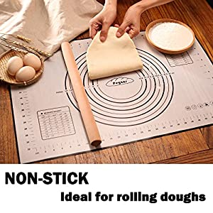 PEGZOS Silicone Pastry Baking Mat with Measures & Conversions, Non-Slip Sheet Sticks to Countertop for Rolling Dough & Baking in Toaster Oven