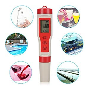 Water PH Tester 4 in 1 Function pH TDS EC Temp Digital Water Quality Tester Monitor Meter Test Pen