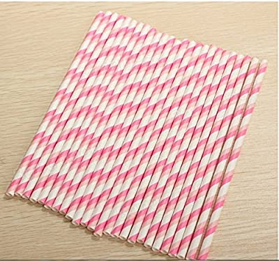 Colorful Paper Party Straws for Weddings, Baby Showers & Birthday Celebrations,25pcs/pack,(Pink).
