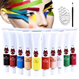 Happlee 10 Colors Face and Body Paint Set with Brush and Palette Non-Toxic Professional Facepaints Moisturizing Face Painting for Kids & Adults for Party, Halloween, Carnival(1.76 fl.oz) (Color: 10colors, Tamaño: 21ML)