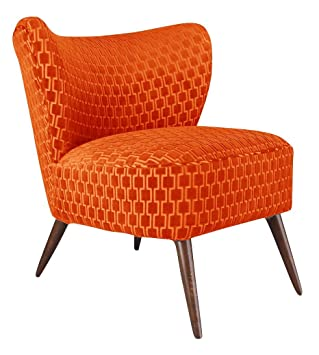 Bartholomew Chair Luxury Occasional Corner Chair, Wood, Neon Orange