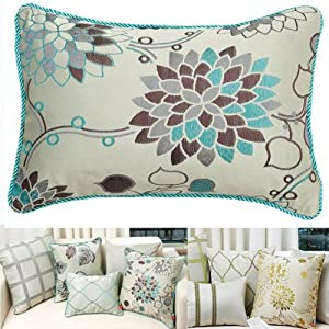 Amazon.com: Decorative Beige Light Blue / Green Floral Throw Pillow Cover (Blue Flower, 16 x 11 ...