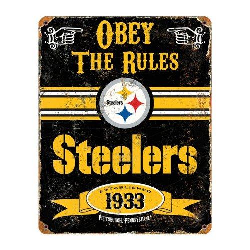 """NFL Pittsburgh Steelers Embossed Metal Sign, 14-1/2x11""""-1/2"""", Black"""