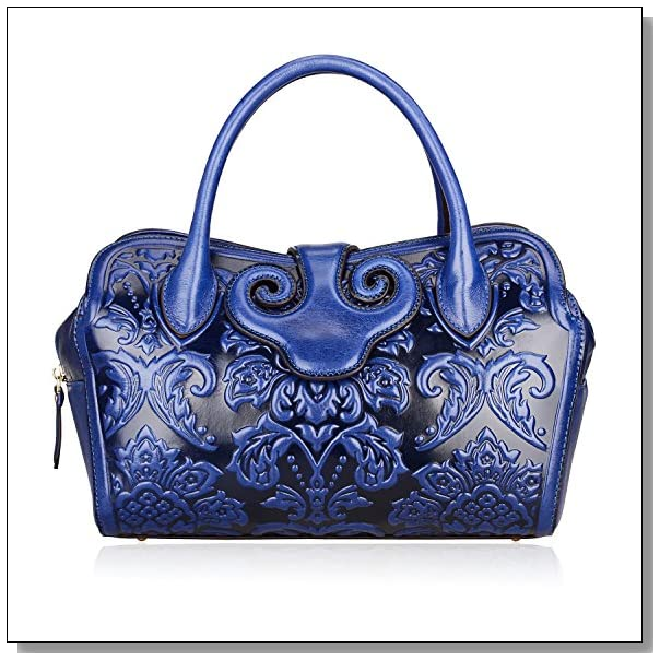 Pijushi Floral Collection Women's Genuine Leather Top Handle Handbag Tote Satchel Cross Body Bag with Adjustable Shoulder Strap Drop 22119 (Blue flower)