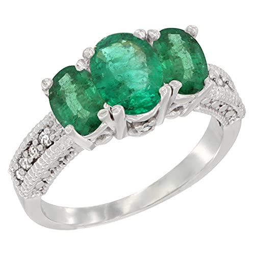 Revoni 14ct White Gold Diamond Natural Emerald Ring Oval 3-stone with HQ Emerald