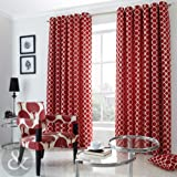 Retro Chenille Jacquard Curtains Heavy Ring Top Eyelet Fully Lined Curtain Pair