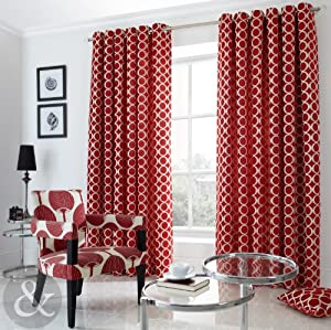 retro chenille jacquard curtains heavy ring top eyelet fully lined
