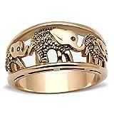 Stainless Steel Ring Elephant Caravan Crystal Citrine Rose Gold - Plated Women Size 5 - 10 SPJ ( 8 )
