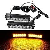 Purishion 2x Car Truck 6LED Strobe Hazard Emergency Flashing Police Warning Grill Light 12V (Amber)