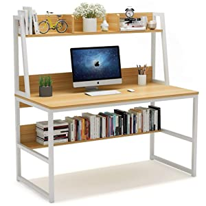 47 Inches Home Office Desk with Space Saving Design for Small Spaces Tribesigns Computer Desk with Hutch and Bookshelf Light Walnut