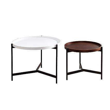 Couchtisch Set LAGOON schwarz weiß walnuss rund multifunktional Satztische Tischset Beistelltische Wohnzimmertische Metalltische