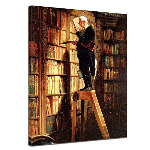 """Bilderdepot24 Leinwandbild Carl Spitzweg - Alte Meister """"Der Bücherwurm"""" 50x70cm - fertig gerahmt, direkt vom Hersteller"""