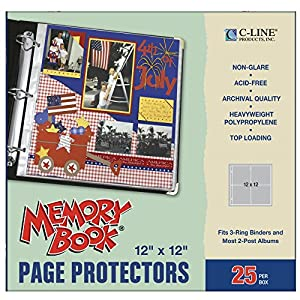 C-Line Memory Book 12 x 12 Inch Scrapbook Page Protectors, Non-Glare Poly, Top Load, 25 Pages per Box (62022)