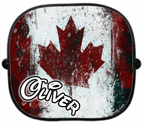 A PERSONALISED * CANADA COUNTRY FLAG * CAR SUNSHADE x 1 - New Custom Collapsible Kid Baby Child Visor Window Your Name UV Screen Plain Support Sunshades Present Newborn Gift Sun Shade Screen by 123t