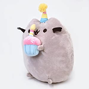 GUND Pusheen Snackables Birthday Cupcake Plush Stuffed Animal, Gray, 10.5 (Color: Multi-colored, Tamaño: 10.5 x 5 x 7)