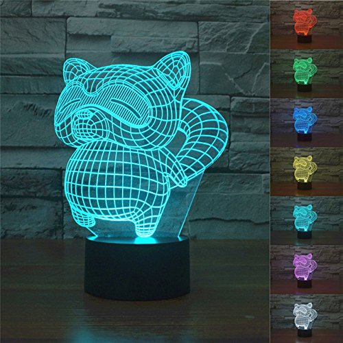 Kawaii Rocket Raccoon 3D LED USB Night Light