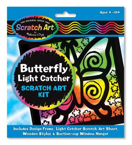 Melissa & Doug Butterfly Light Catcher Scratch Art Kit
