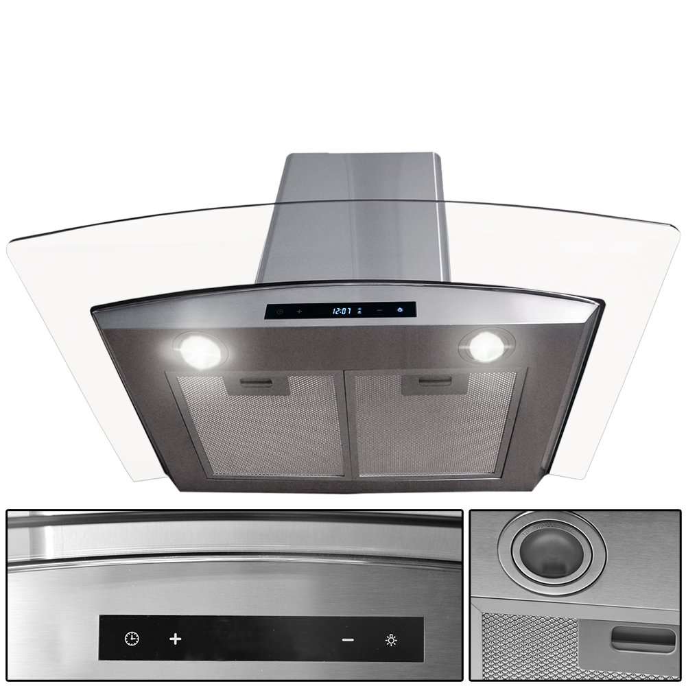 "30"" Stainless Steel Kitchen Powerful Wall Mount Range Hood Vent Touch Panel Control with Digital Clock"
