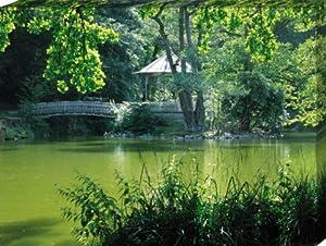 Parks - Der Waldsee In Freiburg Mit Brücke Zur Insel Poster Leinwandbild Auf Keilrahmen (80 x 60cm)