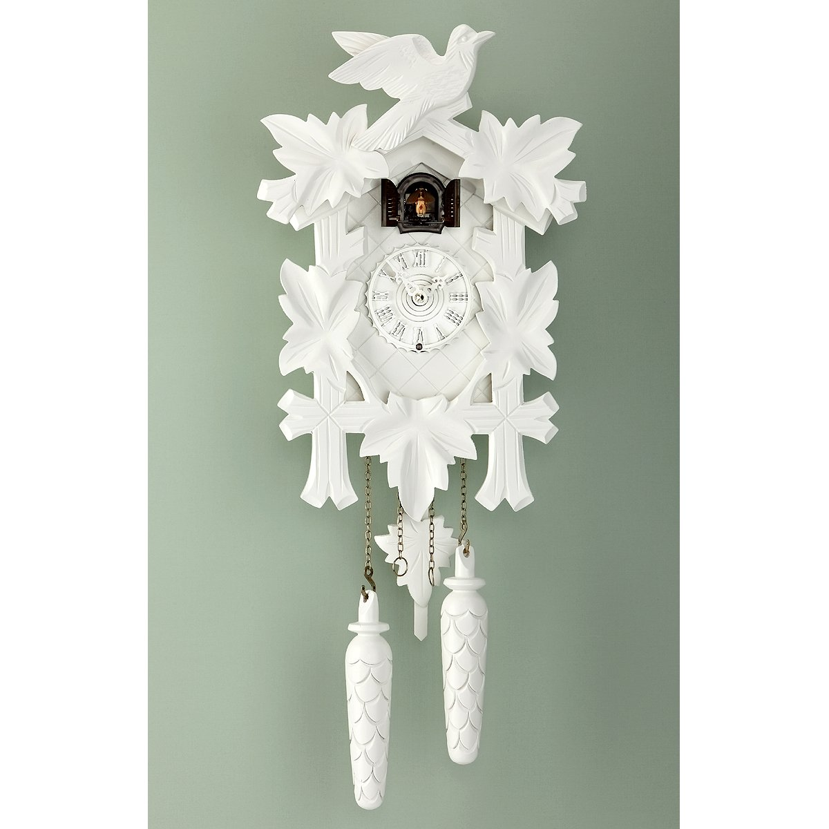 Cuckoo Clock 5 leaves, bird, incl. batteries       Customer reviews and more information