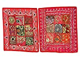 India Decor Toss Pillow Shams, 2 Red Vintage Patchwork Sari Cushion Covers 16""