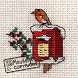 Mouseloft Mini Cross Stitch Card Kit - Robin on Postbox, Christmas Collection