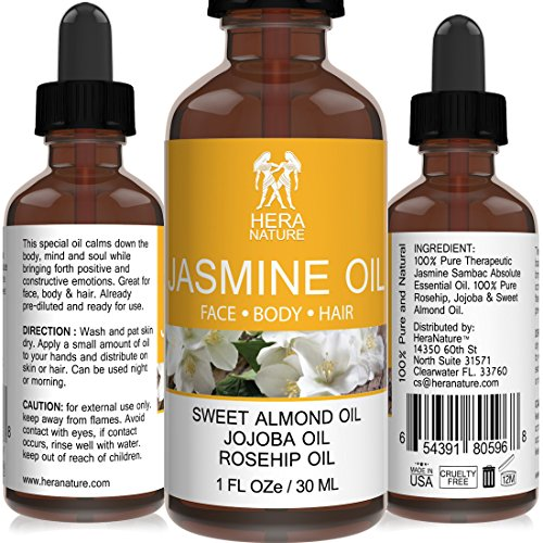 Jasmine Absolute Oil - 100% Pure - in Sweet Almond, Jojoba & Rosehip Oil - Therapeutic Grade - 30ml (1oz)