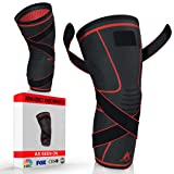 Athledict Knee Brace Compression Sleeve with Strap for Best Support & Pain Relief for Meniscus Tear, Arthritis, Running, Basketball, MCL, Crossfit, Jogging, Post Surgery Recovery for Men & Women, L (Color: Dark Grey/Red, Tamaño: Large)