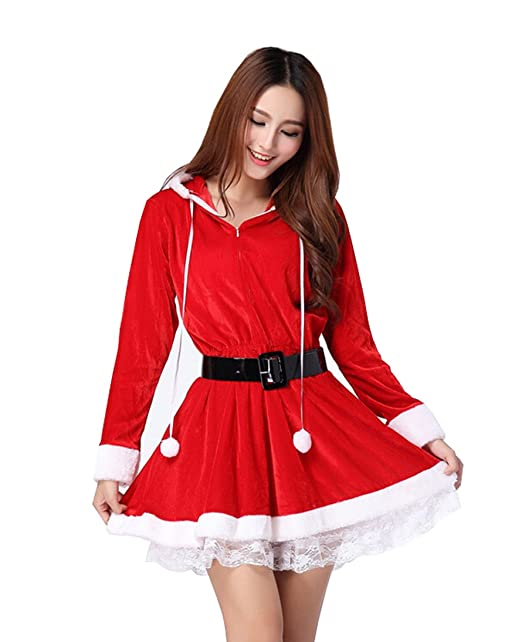 Zippered Christmas Santa Claus Costume Father Christmas One-piece Party Skirt Dress