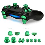 kwmobile Controller Button Replacement Set - For Playstation 4 Pro / PS4 Slim Controller (Gen 2) - Custom Aluminum Metal Repair Parts - Green (Color: green)