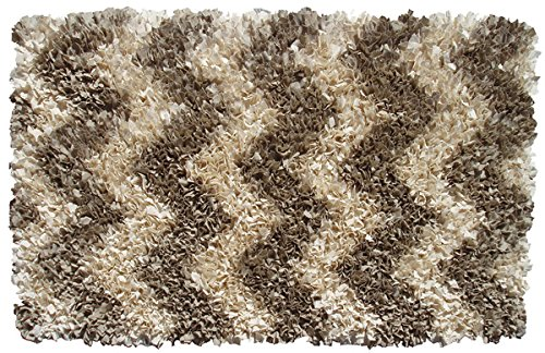 The Rug Market 02284B Handmade Rugs, Shaggy Raggy Natural Chevron, Off-White