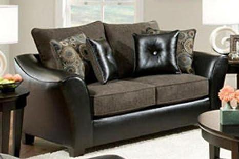 Chelsea Home Furniture Union Sofa, Pinnacle/PU Gray/Miraculous Charcoal/PU Pillows(4)