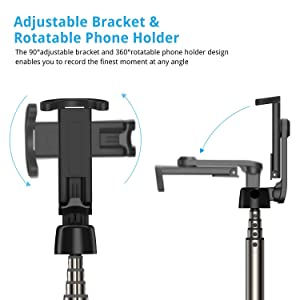 ATUMTEK Bluetooth Selfie Stick Tripod, Mini Extendable Selfie Stick with Wireless Bluetooth Remote for iPhone 11/11 Pro/XS Max/XR/XS/X/8/7/6s/6 Plus,