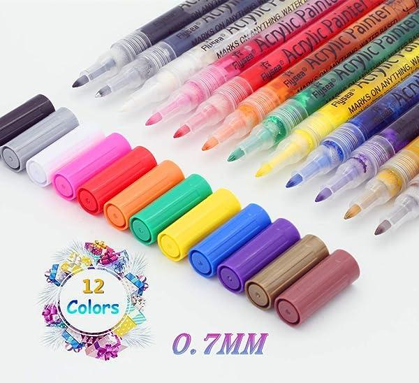 Wood TB/® Acrylic Paint Marker Pens for Painting Stones Pebbles Pottery Mugs Glass Non Toxic Set of 12 Colour Medium tip Fabric Metal Ceramic Rocks