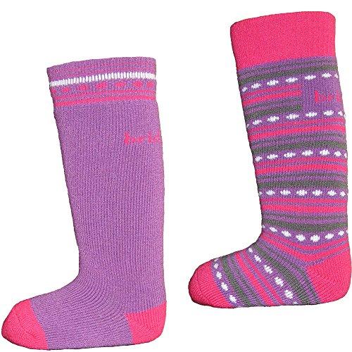 Bridgedale Merino Ski Sock - Kids' - 2-Pack Purple/Fuchsia,