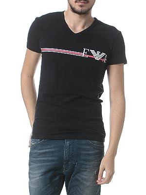 EMPORIO ARMANI フロントラインロゴプリント Vネック 半袖 Tシャツ