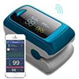 Bluetooth Fingertip Pulse Oximeter Oximetry Blood Oxygen Saturation Monitor and Pulse Rate Monitor for Apple and Android (Color: Blue, Tamaño: 1.22 x 2.3 x 1.26 in)