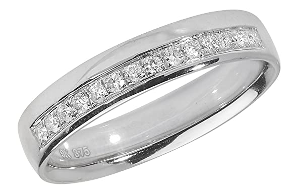 Diamond Wedding Ring Grain Set 18ct White Gold 0.16ct