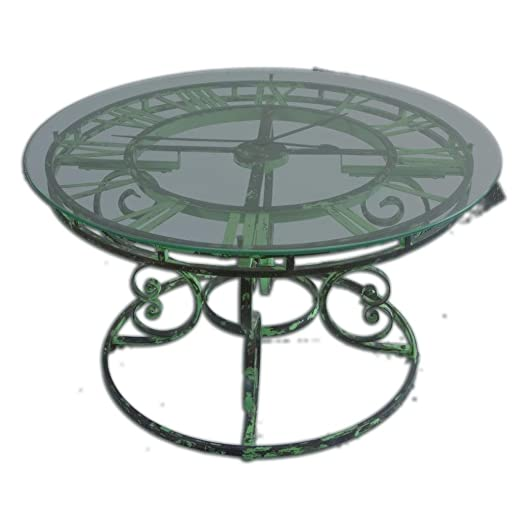 Elegant Light Green Iron Clock Coffee Table