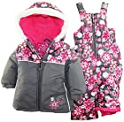 Rugged Bear Baby Girls Infant Floral Two Piece Snowsuit Set