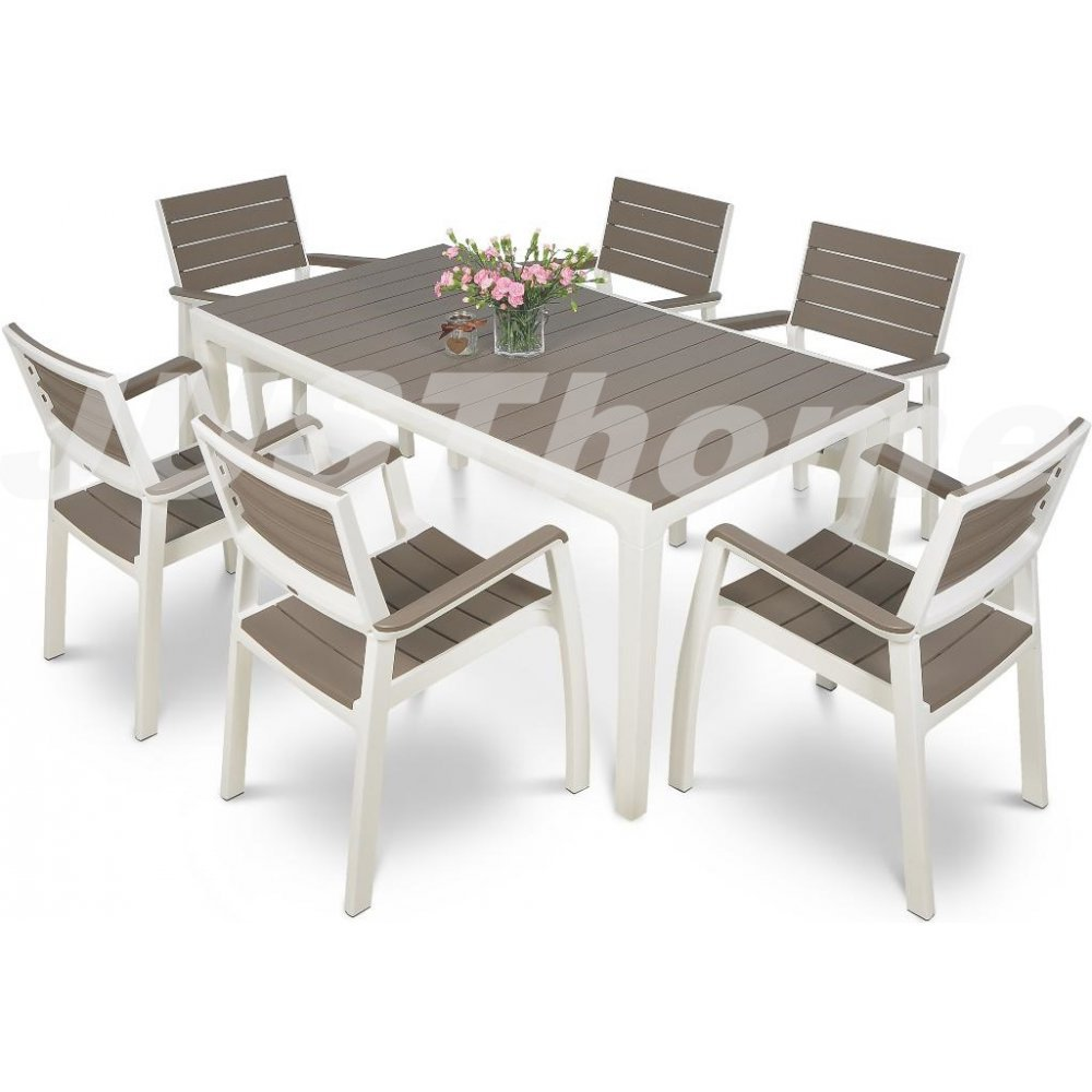 JUSThome Gartenmöbel Sitzgruppe Gartengarnitur FLORENCE 6x Stuhl + 1x Tisch Weiß Braun günstig kaufen