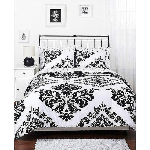 Queen Black White French Country Damask Reversible Comforter Bedding Set front-958119