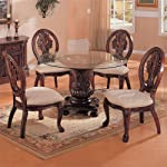 Tabitha Traditional Round Dining Table with Glass Top in Cherry Finish