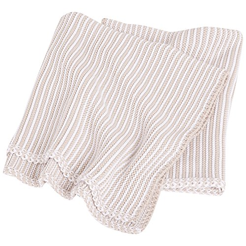 JoJo Maman Bebe Knitted Stripe Blanket, Natural