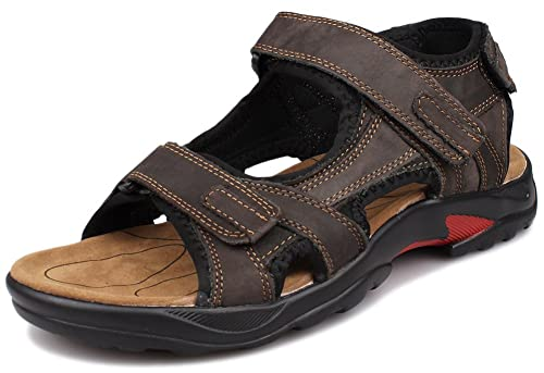 Kunsto Men's Leather Athletic Sport Sandal Flats Shoes